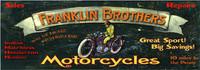 Vintage Motorcycle Signs - Franklin Bros. Distressed Wooden Sign