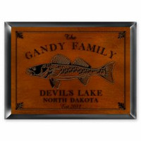 Personalized Wood Cabin Signs - Walleye Fish Sign