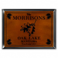 Personalized Wood Cabin Signs - Oak Leaf Sign