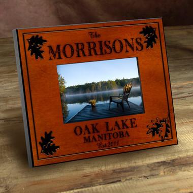 Personalized Picture Frames | Wood Oak Leaf Photo Frame