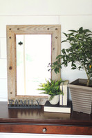 Rustic Mirror - Park City Style Barnwood with Alder Inset and Nailhead Corner Tacks