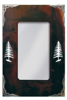 """Wrought Iron Mirror with Burnished Pine Tree Motif - 30"""""""