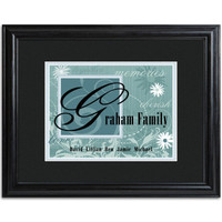 Personalized Family Name and Initial Framed Print - Sky Blue