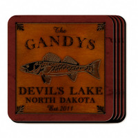 Personalized Walleye Coaster Set