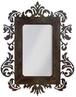 """Wrought Iron Mirror - Damask Style - 36"""" Mirror with Rust Patina"""