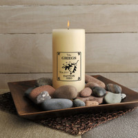 Personalized White Oak Cabin Candle