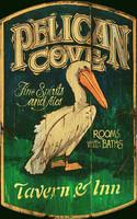Vintage Beach Signs - Pelican Cove