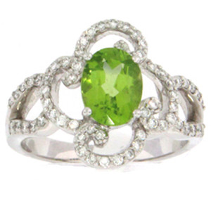 14KW Peridot and Diamond ring