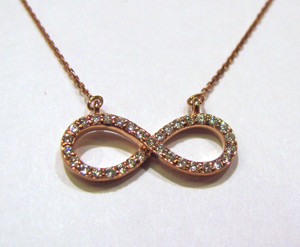14K rose gold infinity necklace