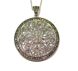 Filigree circle pendant with brown & white diamonds