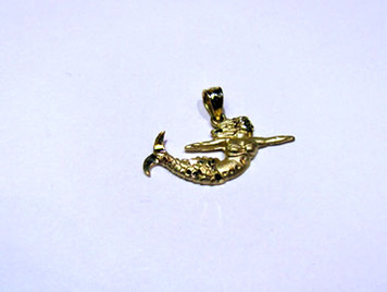 14K Mermaid mini pendant