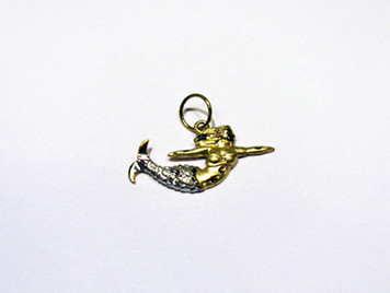 14K two tone Mermaid charm