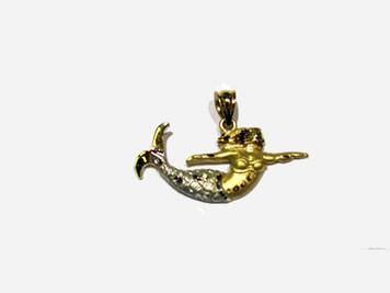14K two tone Mermaid mini pendant