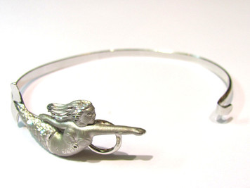 Sterling Mermaid Bangle Bracelet