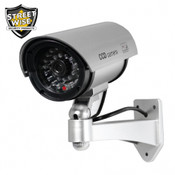 "Streetwise 5"" IR Dummy Camera in Circular Outdoor Housing w/ light - Silver"