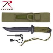 "Rothco 7"" Paracord Knife W/ Fire Starter - OD"