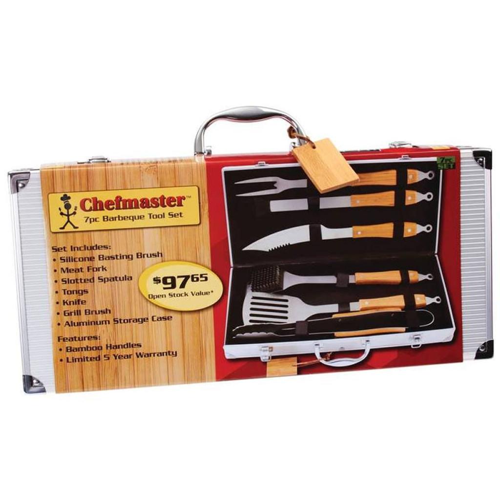 Chefmaster 7-Piece Bamboo BBQ Set