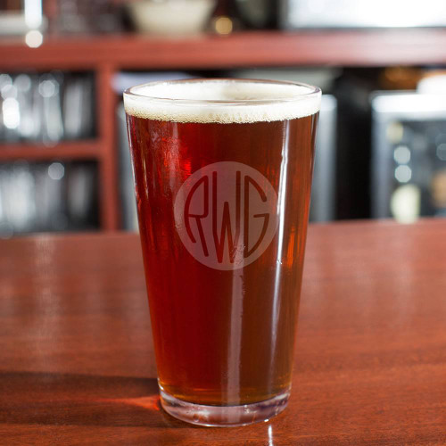 Solid Circle Monogram Beer Glass