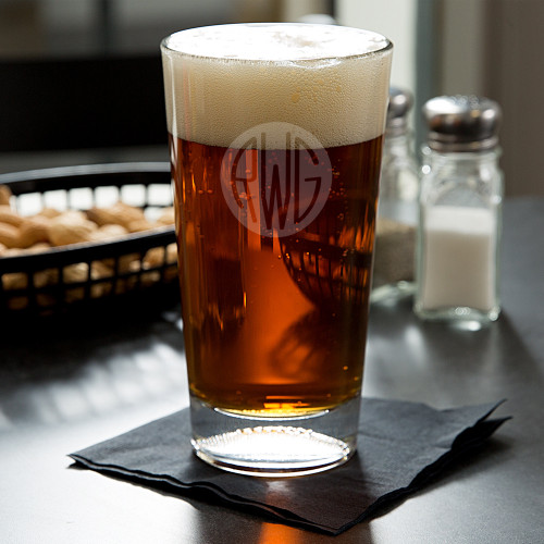 Solid Circle Monogram Football Beer Glass