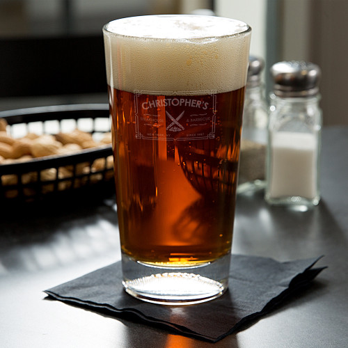 Steakhouse Personalized Football Beer Glass