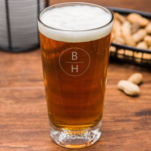 Vertical Monogram Personalized Golf Beer Glass