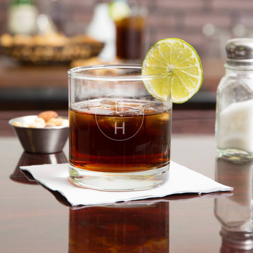 Vertical Monogram Personalized Whiskey Glass