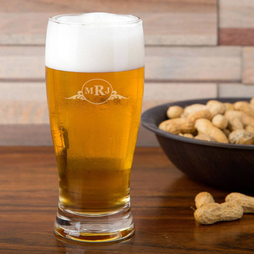 Western Scroll Personalized Pilsner Glass