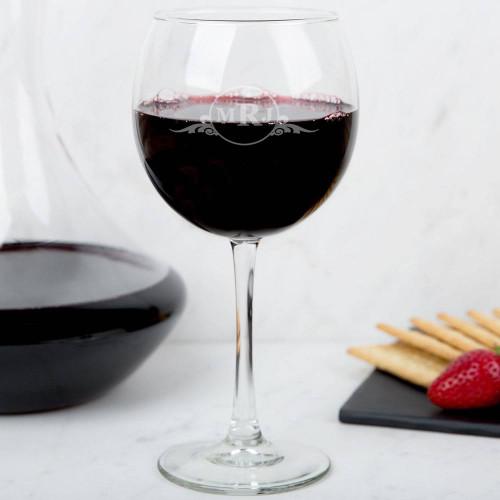 Western Scroll Personalized Wine Glass