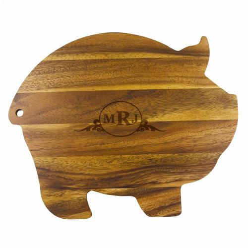 Western Scroll Personalized Wood Pig Cutting Board