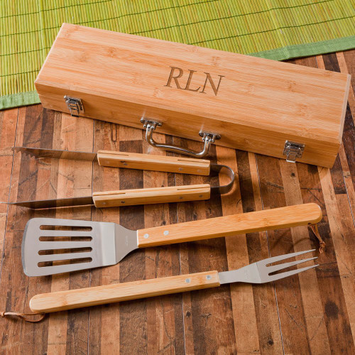 Personalized 3-Piece BBQ Tool Set in Bamboo Case