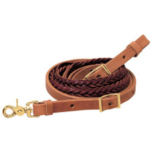 Western Natural Leather Braided Roping Reins with Quick Release By Aledo Saddlery