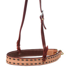 Western Natural Leather Black BuckstitchedvNoseband By Aledo Saddlery