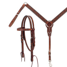 Western Brown Leather Set of Hand Carved Headstall and Breast Collar By Aledo Saddlery