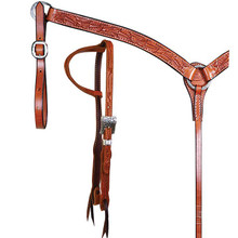 Western Tan Leather Set of Hand Carved  Headstall and Breast Collar By Aledo Saddlery