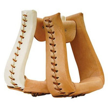 Western Natural or White Leather RAwhide Braided  Stirrups By Aledo Saddlery