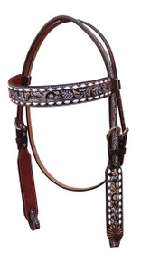 Western Brown Leather Set of Headstall & Breast Collar  Buckstitched By Aledo Saddlery