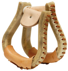 "Western Natural Leather Rawhide Braided Pair of Stirrups 1.5""By Aledo Saddlery"