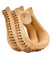 "Western Natural Leather  Braided Pair of Stirrups 2.5""By Aledo Saddlery"