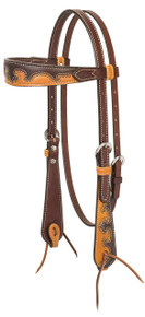 Western Brown Two Tone Set of Headstall and Breast Collar By Aledo Saddlery