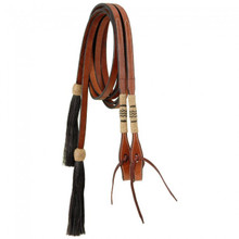 "Western Tan Leather with Silver ferrels 5/8"" Wide  Split Reins with Hair Tassel By Aledo Saddlery"
