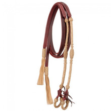 "Western Tan Leather Rolled Rawhide Braided 5/8"" Wide  Split Reins with Hair Tassel By Aledo Saddlery"