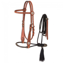 Western Brown Leather  Hand Tooled Headstall with Bosal and Mecate Reins By Aledo Saddlery