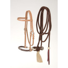 Western natural Leather  Hand Tooled Browband Headstall with Bosal and Mecate Reins By Aledo Saddlery