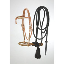 Western natural Leather  Hand Tooled Futurity Headstall with Bosal and Mecate Reins By Aledo Saddlery