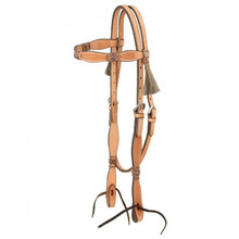 Western Natural Leather Set of Rawhide Braided Headstall and Breast Collar By Aledo Saddlery