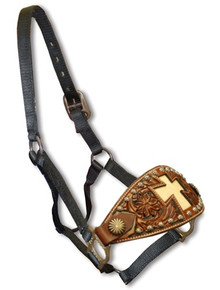 Western Black Nylon Hand Carved Cross Inlay Bronc Halter By Aledo Saddlery