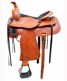 "western tan pleasure trail carved 16"" saddle"