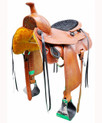 "tan pleasure trail carved 16"" saddle"