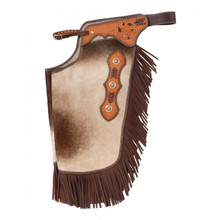 Western Smooth Hair On  Leather Premium Chinks with Filigree By Aledo Saddlery
