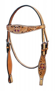 Western Natural Leather Hand Carved Browband Cut Out Headstall By Aledo Saddlery